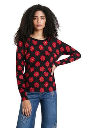 "Desigual γυναικεία πλεκτή μπλούζα με all-over flower print ""Nicaragua"""