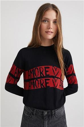 "Desigual γυναικεία πλεκτή μπλούζα με letter print ""Amore Amore"""