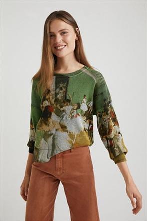 "Desigual γυναικεία πλεκτή μπλούζα με ballet dancers print ""Degas"""