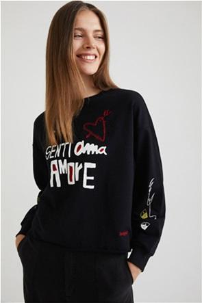 "Desigual γυναικεία μπλούζα φούτερ με letter print ""Senti Ama Amore"""