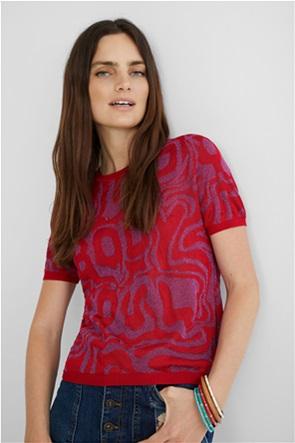 """Desigual γυναικείο πλεκτό T-shirt με letter print """"Mind, Body and Soul"""""""
