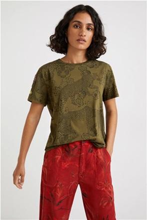 Desigual γυναικείο T-shirt με all-over print και διακοσμητικά κεντήματα ''Ayla''