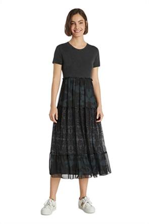 Desigual γυναικείο midi φόρεμα με print και διακοσμητικό βολάν ''Aikido''