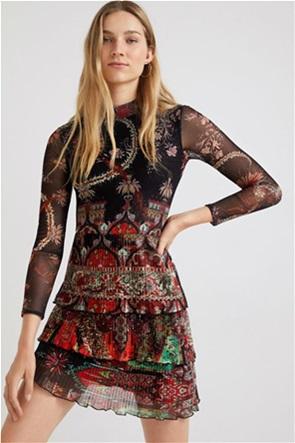 Desigual γυναικείο mini φόρεμα με all-over print και πλισέ λεπτομέρειες