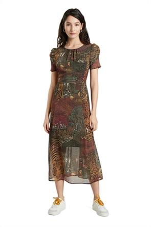 Desigual γυναικείο midi φόρεμα με all-over leopard print ''Salomon''
