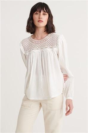 "Superdry  γυναικεία μπλούζα με δαντέλα "" Ellison Lace Long Sleeve Top"""