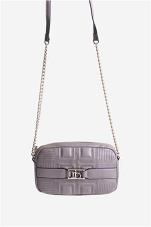 Roccobarocco γυναικείο mini bag crossbody με ανάγλυφο σχέδιο και αλυσίδα