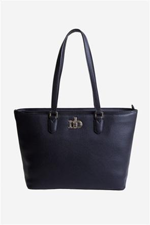 Roccobarocco γυναικεία τσάντα ώμου με μεταλλικό logo μονόχρωμη