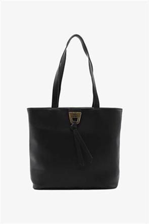 "Rocobarocco γυναικεία τσάντα ώμου μονόχρωμη με μεταλλικό logo ""Tess"""