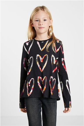 Desigual παιδική μπλούζα με all-over heart print ''Ana''