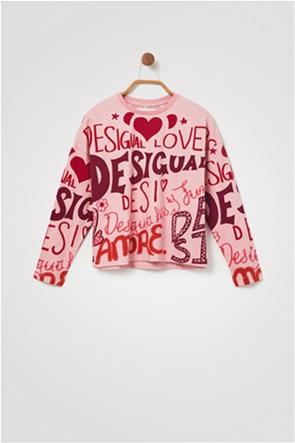 Desigual παιδική μπλούζα με all-over lettering ''Girl''