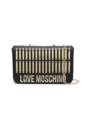 Love Moschino γυναικεία δερμάτινη τσάντα crossbody με μεταλλικά στοιχεία και κεντημένο logo