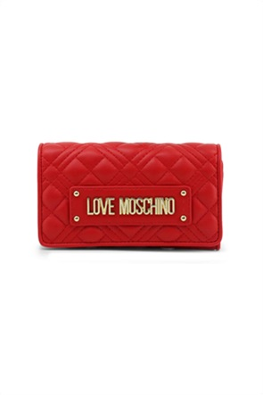 Love Moschino γυναικείο πορτοφόλι καπιτονέ με μεταλλικό λογότυπο με τρουκς