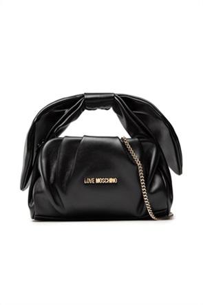 Love Moschino γυναικεία τσάντα χειρός με απλικέ φιόγο και μεταλλικό λογότυπο