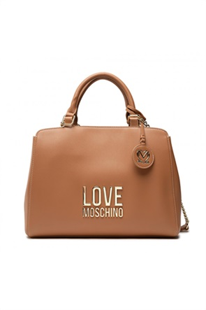 Love Moschino γυναικεία τσάντα χειρός με μεταλλικό logo και διακοσμητικό μπρελόκ