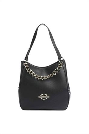 Love Moschino γυναικεία τσάντα ώμου με μεταλλικό logo και διακοσμητική αλυσίδα