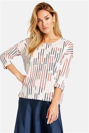 Gerry Weber γυναικεία μπλούζα με μανίκια 3/4 και print pied de poule