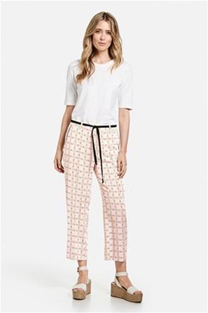 Gerry Weber γυναικείο παντελόνι cropped με all-over print και ζωνάκι στη μέση