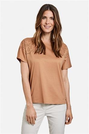 Gerry Weber γυναικεία μπλούζα μονόχρωμη με διάτρητα κεντήματα