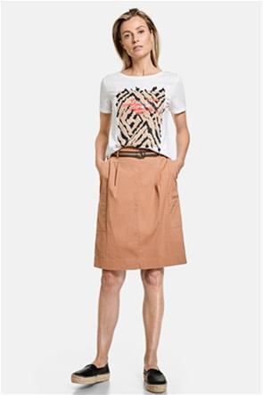 Gerry Weber γυναικεία mini φούστα με απλικέ τσέπες στο πλάι και ζώνη στη μέση