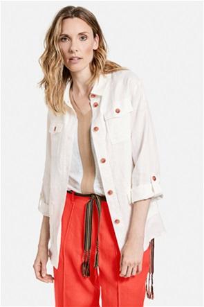 Gerry Weber γυναικείο blazer λινό με flap τσέπες και ζώνη στη μέση