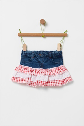 OVS βρεφική denim κοντή φούστα με καρό βολάν ( 3-36 μηνών)