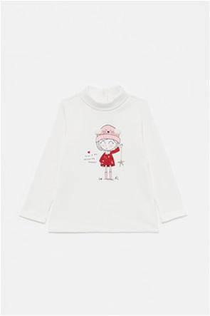 OVS βρεφική μπλούζα με print και pom pon (9-36 μηνών)