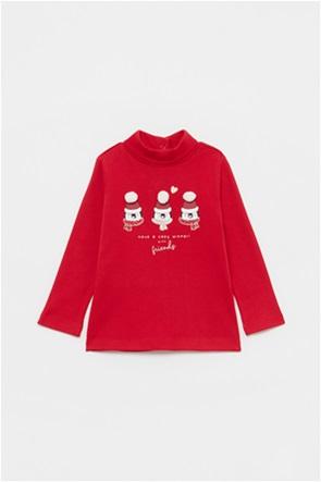 OVS βρεφική μπλούζα με penguins glitter print με pom-pon (9-36 μηνών)