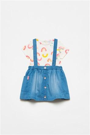 OVS βρεφικό σετ ρούχων φούστα denim με crossover τιράντες και T-shirt (12-36 μηνών)