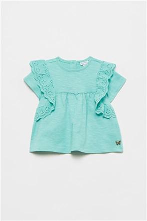 OVS βρεφική μπλούζα με λεπτομέρειες δαντέλας και κεντημένη πεταλούδα (9-36 μηνών)