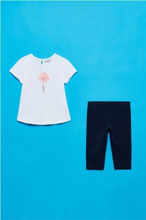 OVS βρεφικό σετ ρούχων T-shirt με λουλούδι και κολάν (9-36 μηνών)