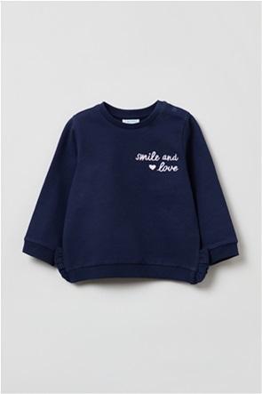 OVS βρεφική μπλούζα φούτερ με lettering κέντημα (9-36 μηνών)