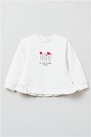 OVS βρεφική μπλούζα φούτερ με βολάν και print (9-36 μηνών)