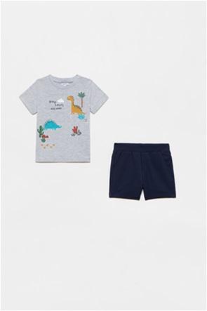 OVS βρεφικό σετ ρούχων T-shirt με dinosaurs print και σορτς (12-36 μηνών)