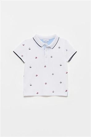 OVS βρεφική πόλο μπλούζα με all-over boats print (12-36 μηνών)