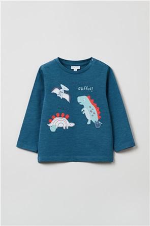OVS βρεφική μπλούζα με dinosaur patches (9-36 μηνών)