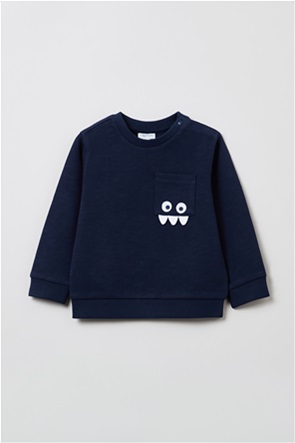 OVS βρεφική μπλούζα φούτερ με απλικε τσέπη με κεντημένο σχέδιο (9-36 μηνών)
