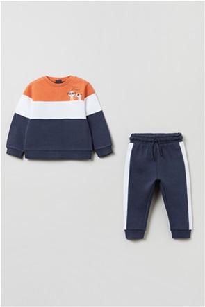 OVS βρεφικό σετ ρούχων μπλούζα φούτερ colourblocked και παντελόνι φόρμας (9-36 μηνών)