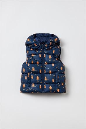 OVS βρεφικό μπουφάν αμάνικο καπιτονέ με κουκούλα και print (9-36 μηνών)
