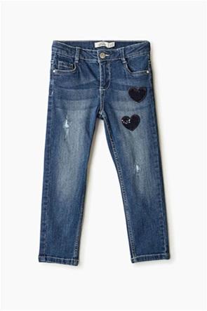 OVS παιδικό τζην παντελόνι με σχέδια παγίετα καρδιά (3 -10 ετών)