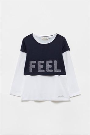 OVS παιδική μπλούζα με layer και στρας (3-10 ετών)