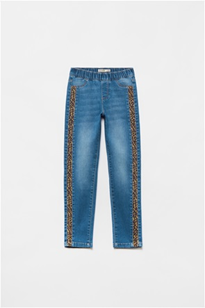 OVS παιδικό τζην παντελόνι με animal print τρέσα (3-10 ετών)
