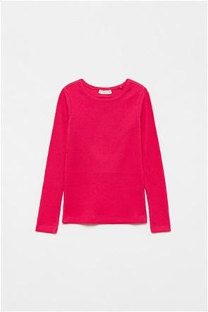 OVS παιδική ribbed μπλούζα με στρογγυλή λαιμόκοψη (3-10 ετών)