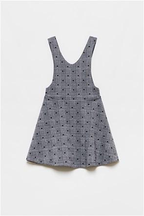 OVS παιδικό φόρεμα αμάνικο pied-de-poule με πουά print (3-10 ετών)