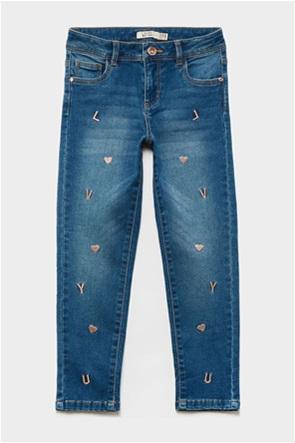 OVS παιδικό τζην παντελόνι με κεντήμενες λεπτομέρειες (3-10 ετών)