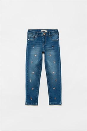 OVS παιδικό τζην παντελόνι πεντάτσεπο με κεντήματα (3-10 ετών)