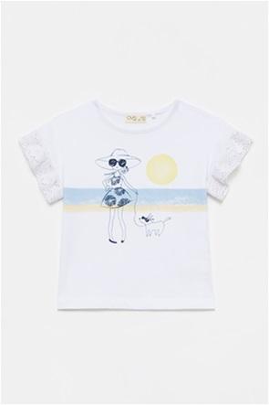 OVS παιδική μπλούζα με graphic print και δαντέλα (3-10 ετών)