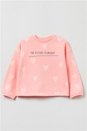 OVS παιδική μπλούζα φούτερ με καρδούλες και lettering (3-10 ετών)