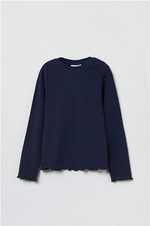 OVS παιδική μπλούζα μονόχρωμη με σχέδιο στο τελείωμα (3-10 ετών)