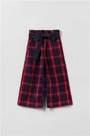 OVS παιδικό παντελόνι cropped καρό με ζώνη στη μέση (3-10 ετών)